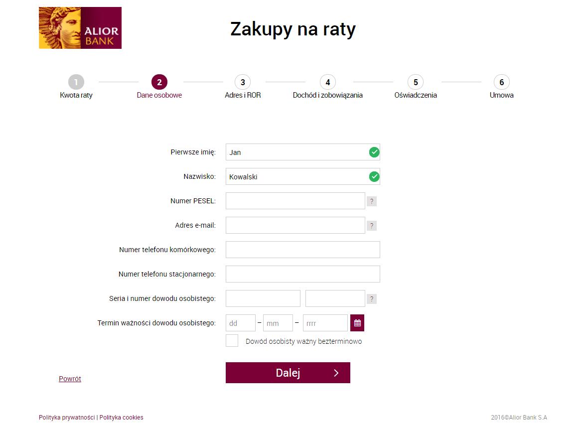 Formularz zgłoszeniowy - ubieganie się o raty 0% w Alior Bank
